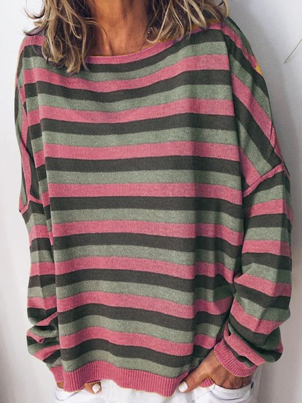 Autumn Stripe Long Sleeve Sweater