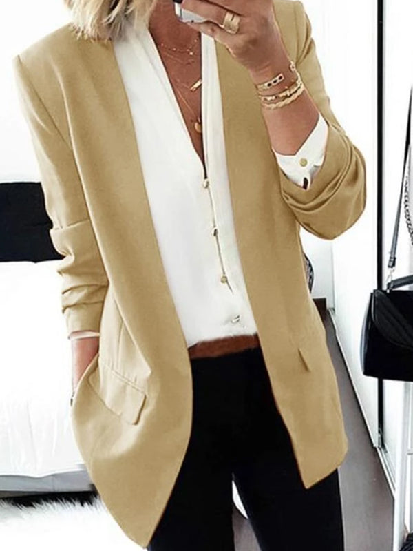 Pure Colour Long Sleeve Loose Women Medium Blazer