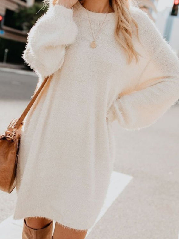 Mid-length long-sleeved round neck loose plush dress