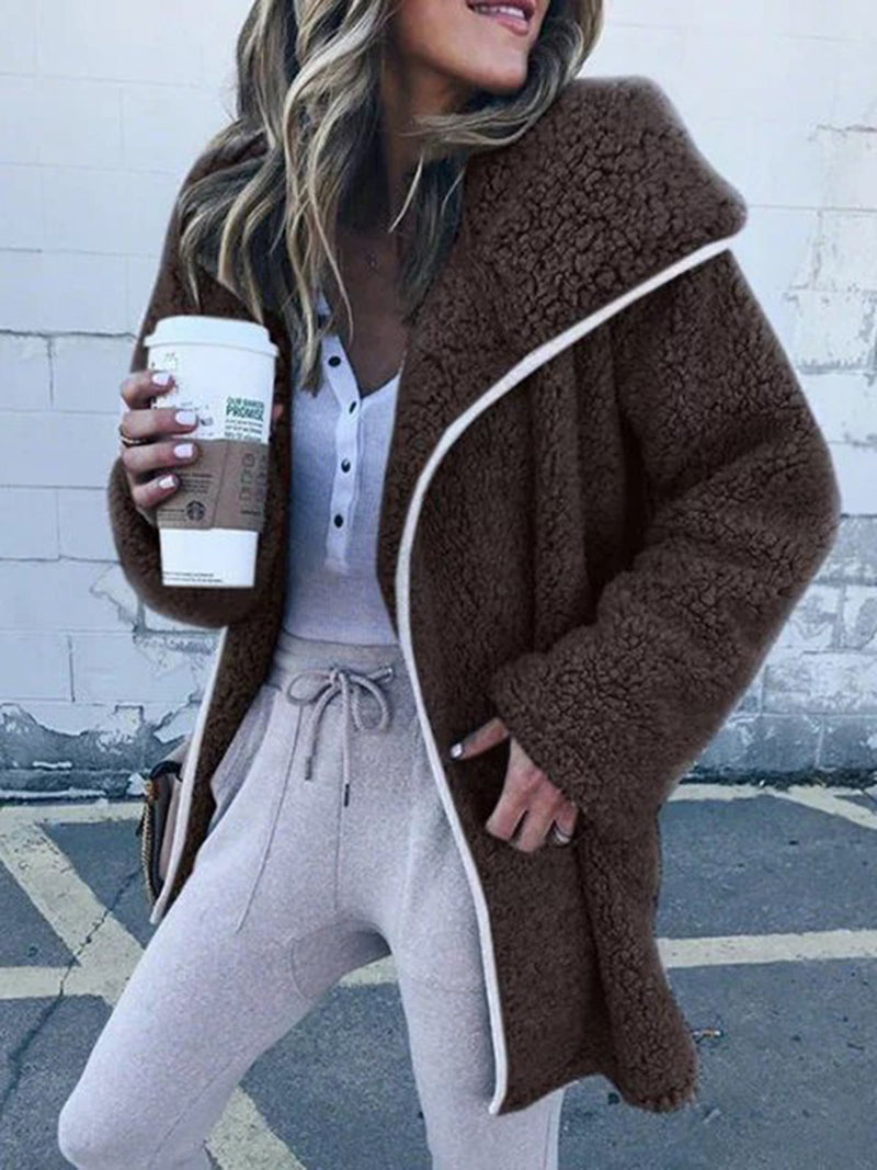 Cashmere Shawl Collar Long Sleeve Solid Teddy Bear Coats