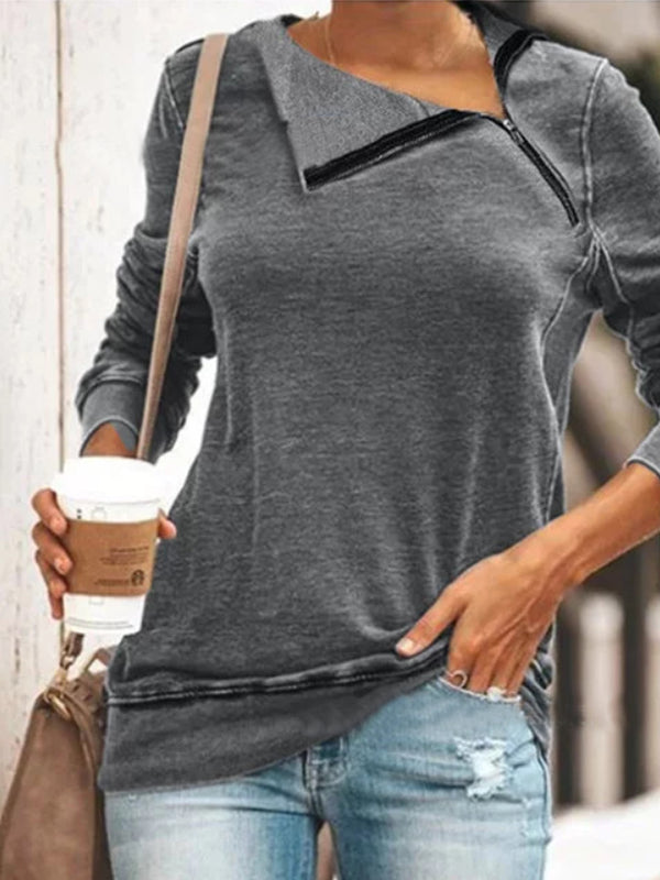Autumn and winter loose knit diagonal collar long sleeve zipper T-shirt