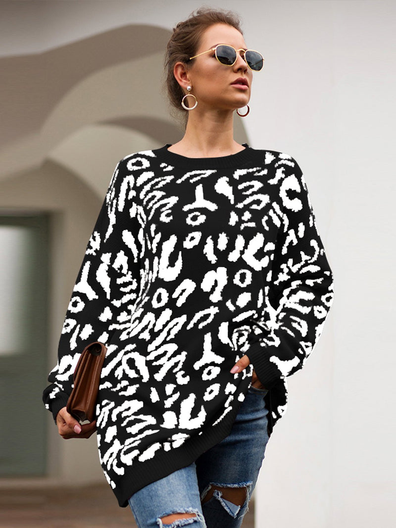 Autumn And Winter Leopard Print Long Sleeves Sweater