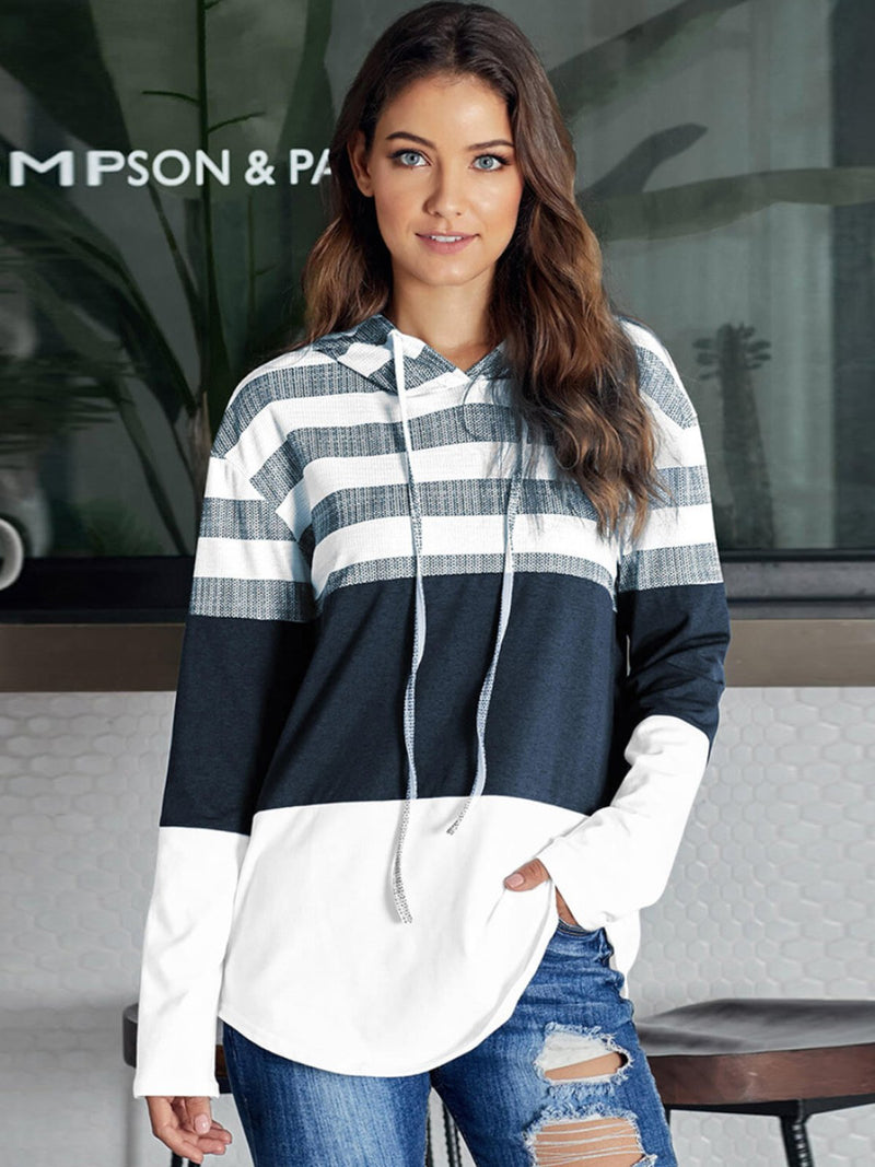 Autumn Casual Color Block Pullover Hoodie