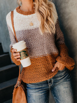 Long Sleeve Contrast Knit Top Sweater