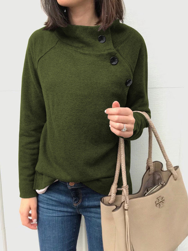 Autumn Round Neck Button Long Sleeve Tops