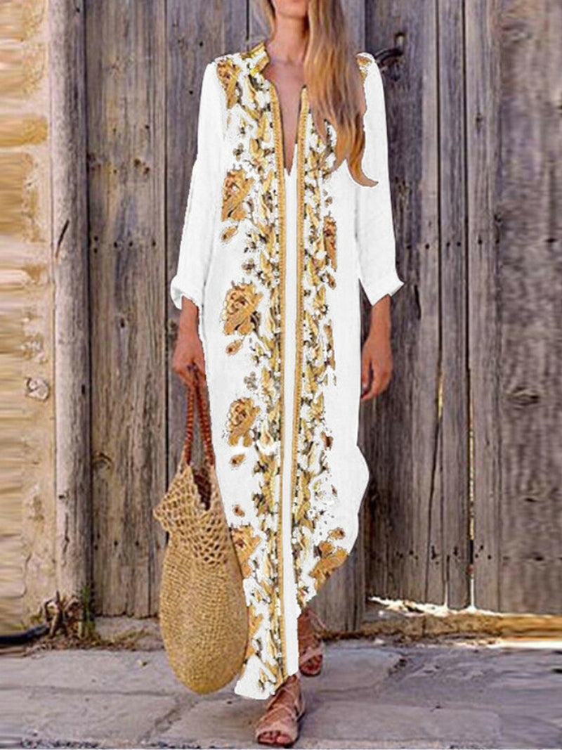 Casual Printed Ankle-Length Loose Deep V Dress