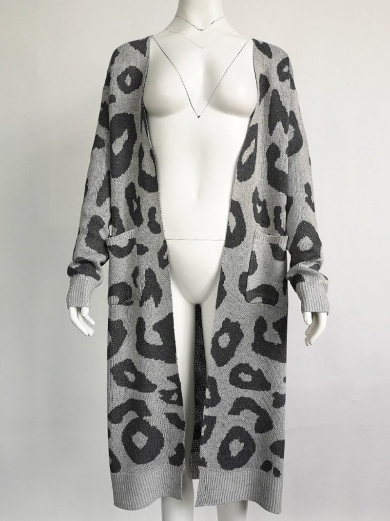 Leopard Print Long Wool Coat