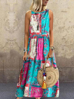 Printed Pleated Round Neck Sleeveless Summer Dress