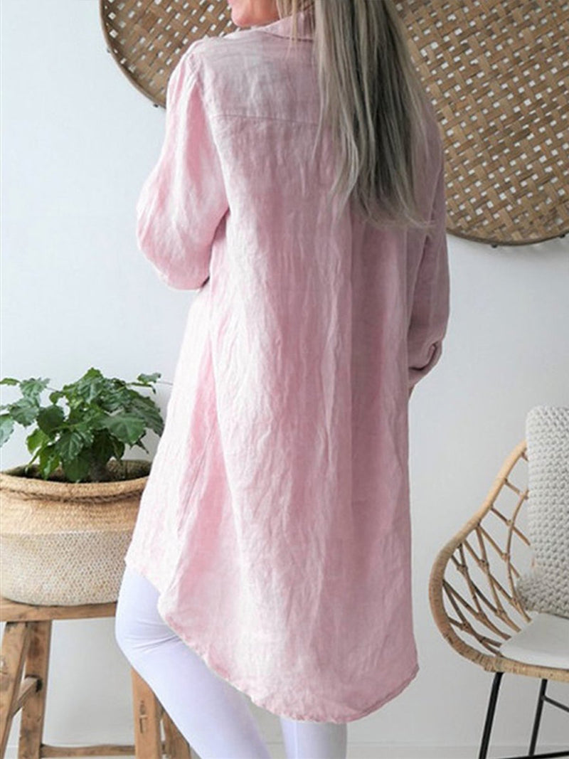 Long Sleeve Solid Color Linen/Cotton Long Blouses