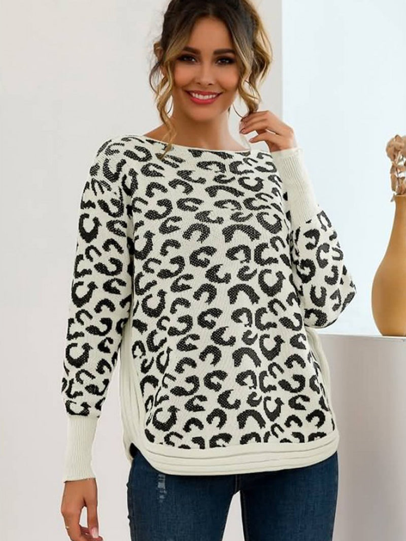 Leopard Crew Neck Long Sleeve Casual Sweater