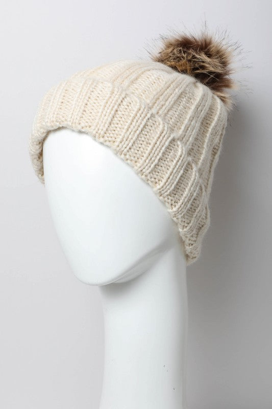 Ribbed Faux Fur Thermal Lining Beanie- 2 Colors