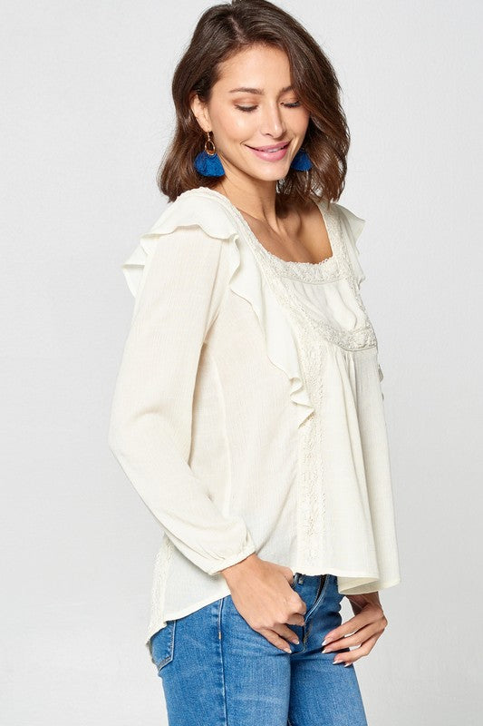 Off White Ruffled Peasant Top