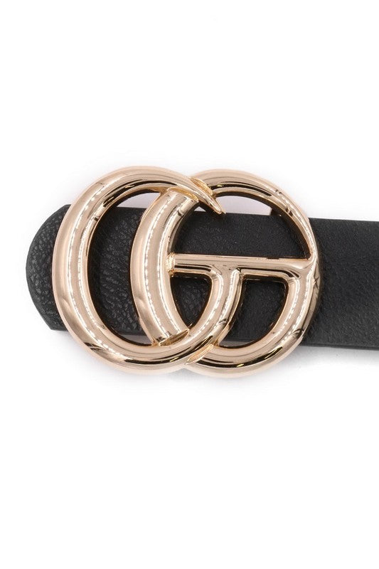 Double O-Ring Gucci Style Belt-Black