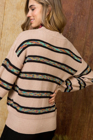 PERFECT STRIPED SWEATER IN TAUPE