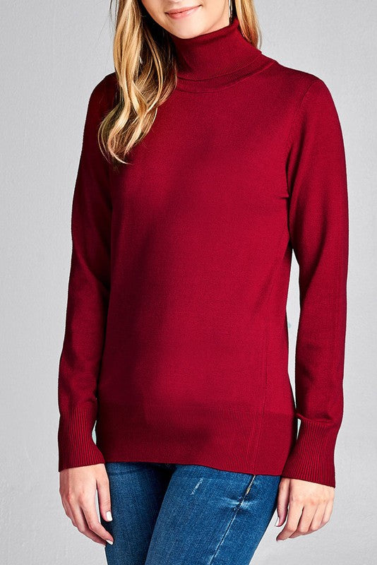 Fitted Burgundy Turtle Neck Sweater