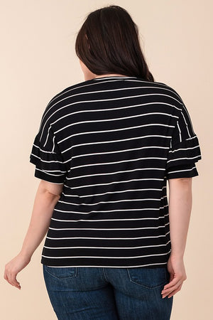 Curvy Black and White Striped Ruffled Top