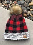 Buffalo Plaid Pom Pom Beanie - Kids