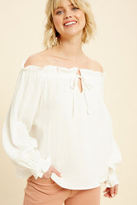 TEXTURED RUFFLE CHEST FRONT KEYHOLE COTTON WHITE TOP