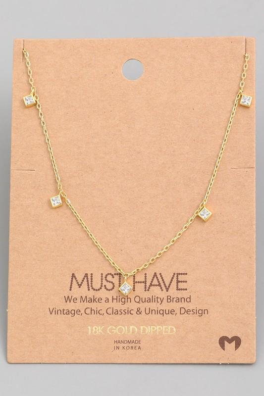 18K Gold Dipped Rhinestone Charm Necklace