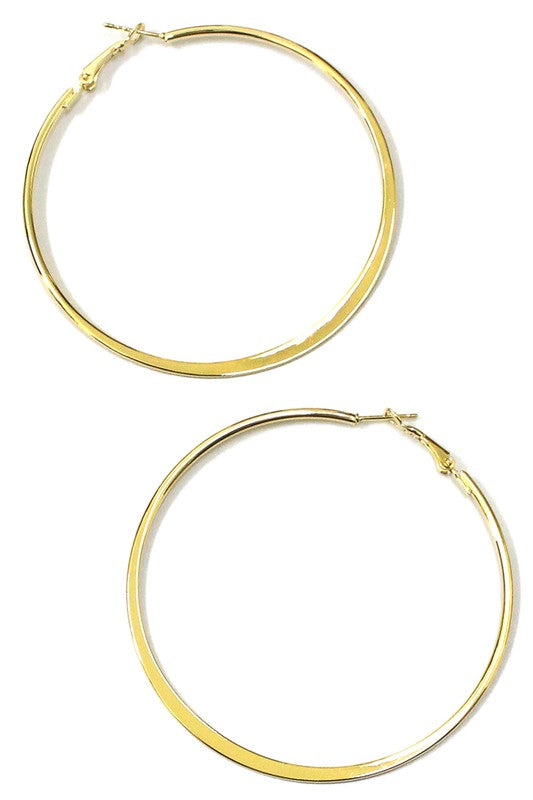 Flat Hoop Gold Earrings