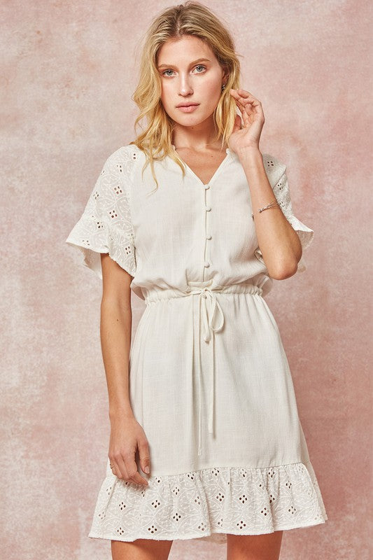 Ruffled Eyelet Lace Mini Dress