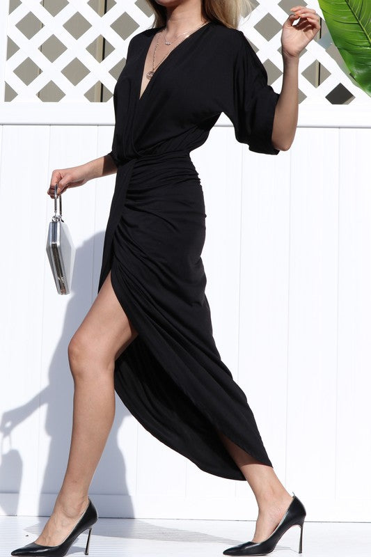 Venetian Ruched Bodycon Dress in Black