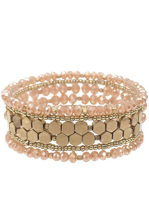 Glass beads and Gold Hexagon Stretch Bracelet Set