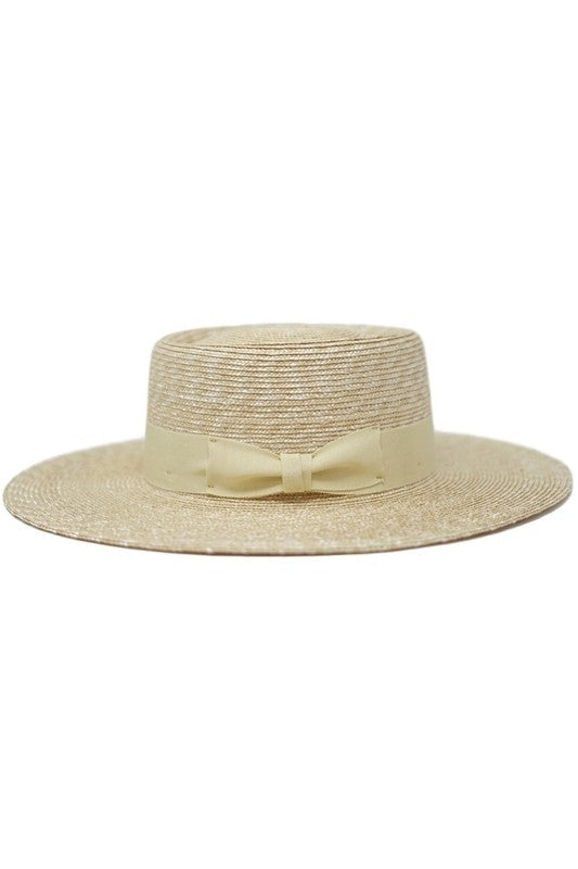 Straw Gambler Hat with Bow Band Detail