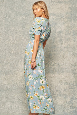 Floral-Print Puff-Sleeve Maxi Dress With Side Slits