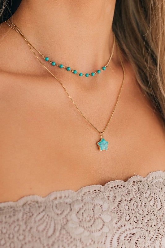 Beaded Turquoise Layered Gold Star Necklace