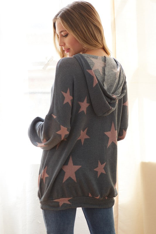 Stars Waffle knit Hoodie Top
