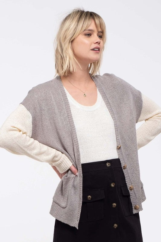 Contrast Colorblock Knit Cardigan