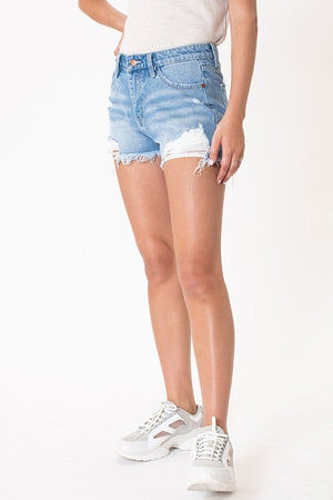Distressed Light Wash Jean Shorts