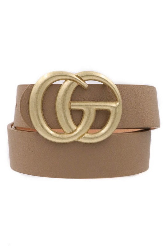 Double O-Ring Gucci Style Belt-Taupe