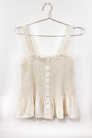 SMOCKED AND FRILLED TANK TOP