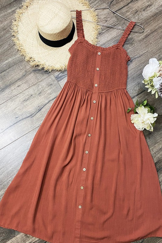 Smocked Button Midi Dress