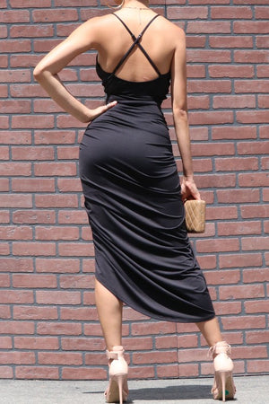 VENETIAN RUCHED BODYCON  ADJUSTABLE STRAPS DRESS