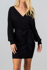 Off The Shoulder Ribbed Knit Dress S-XL