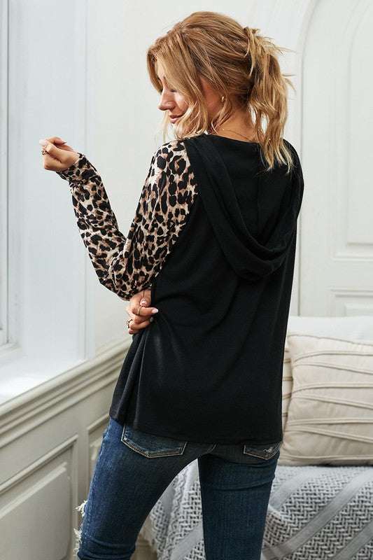 Lace Up Leopard Long Sleeve Hoodie Top S-XL