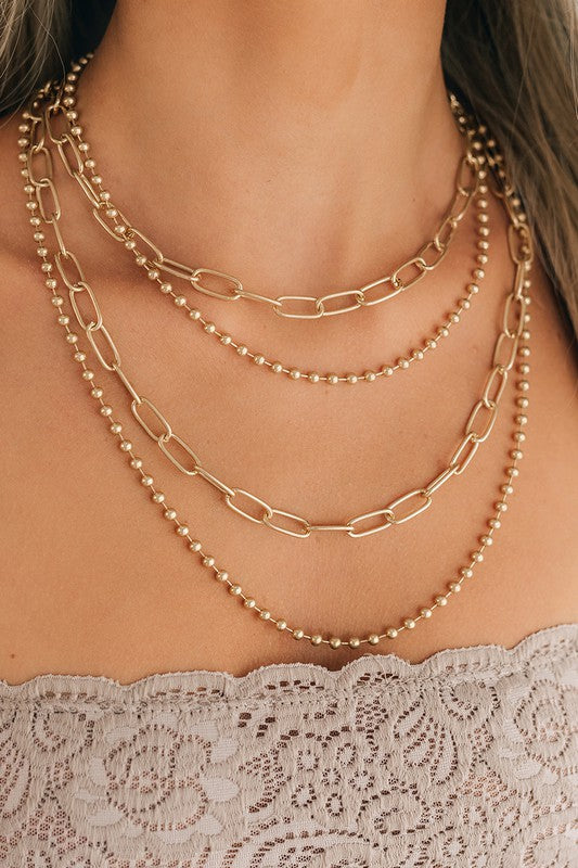 Large Link Multiple Layers Gold Necklace