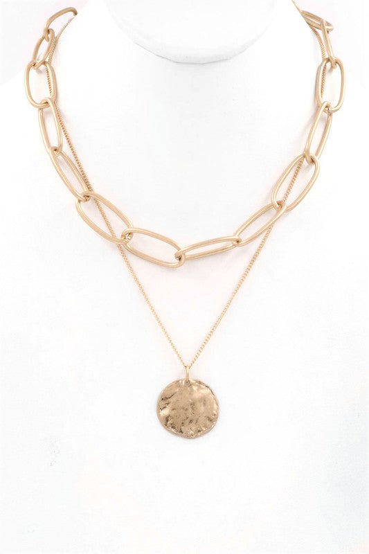 Hammered Pendant Layered Large Link Necklace