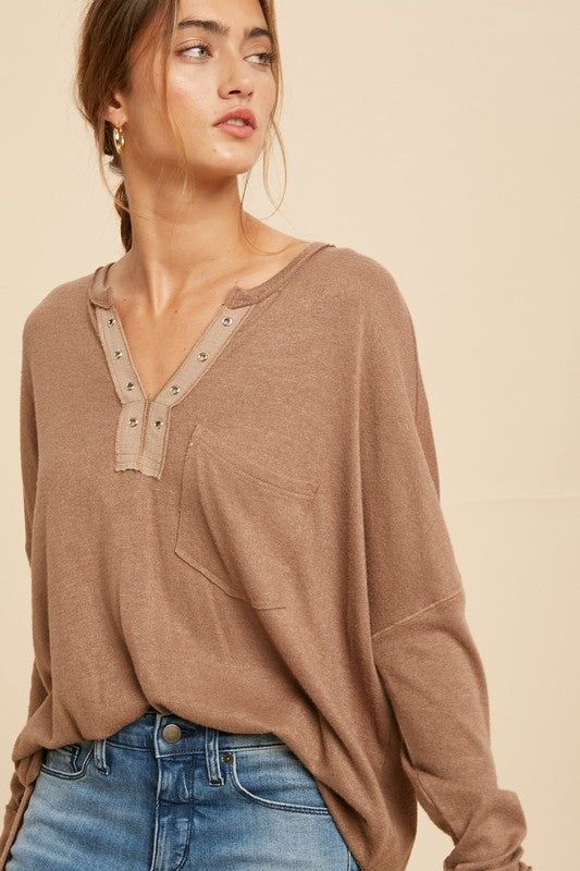 Hacci Knit Grommet Detail Long Sleeve Top