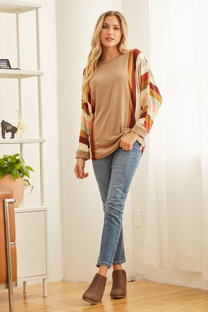 Super Soft Weekend Hacci Stripe Arm Detail Sweater Top S-XL