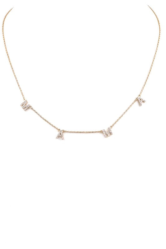 Mama Cubic Zirconia Necklace-Gold