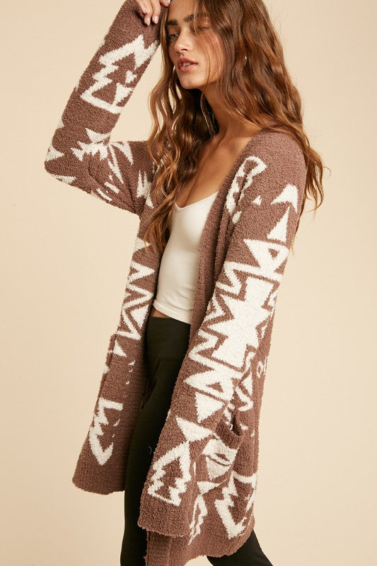 Tribal Western Plush Cardigan-Taupe