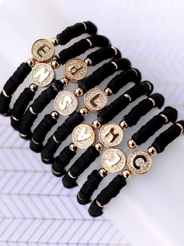 Black Heishi Bracelet With Gold Initial