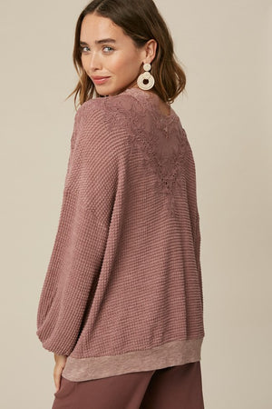Lace Waffle Knit Top-Maroon