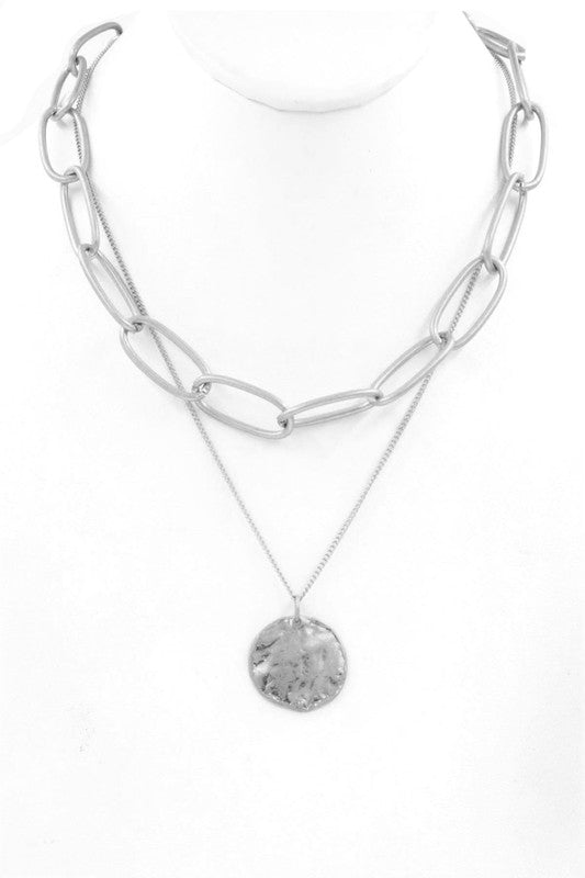 Silver Hammered Pendant Layered Large Link Necklace