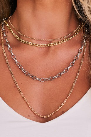 Rose Gold/Gold/Silver Layered Chain Necklace