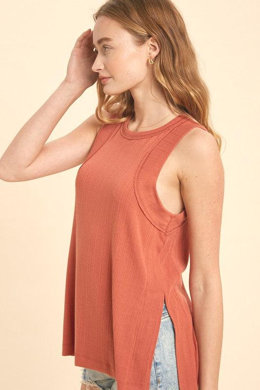 RIBBED RAW EDGE TRIM DETAILS AND SLIT SIDES MUSCLE TANK